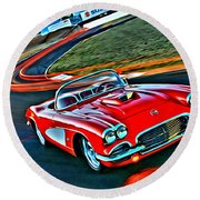 The Red Corvette Round Beach Towel