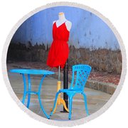 The Red Dress Lunch Special Round Beach Towel