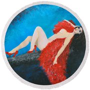The Red Feather Boa Round Beach Towel