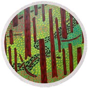 The Red Forrest Round Beach Towel