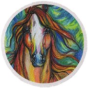The Red Horse Round Beach Towel