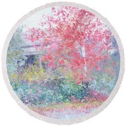 The Red Japanese Maple Tree Round Beach Towel