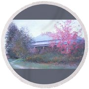 The Red Maple Tree Round Beach Towel