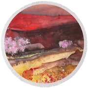 The Red Mountain Round Beach Towel