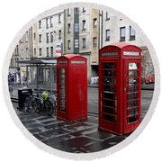 The Red Phone Booth Round Beach Towel