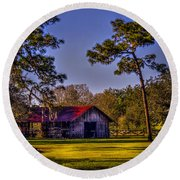 The Red Roof Barn Round Beach Towel by Marvin Spates
