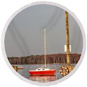The Red Sailboat Round Beach Towel