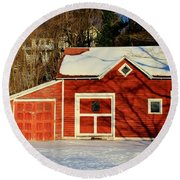 The Red Shed Round Beach Towel
