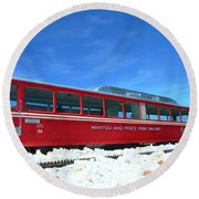The Red Train Round Beach Towel