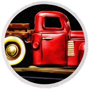 The Red Truck Round Beach Towel