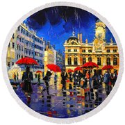 The Red Umbrellas Of Lyon Round Beach Towel