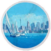 The Regatta Sydney Habour By Jan Matson Round Beach Towel
