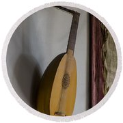 The Renaissance Lute Round Beach Towel