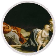 The Rest On The Flight Into Egypt Round Beach Towel