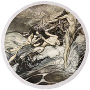 The Rhinemaidens Obtain Possession Of The Ring And Bear It Off In Triumph Round Beach Towel by Arthur Rackham