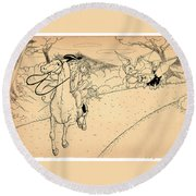 The Ride Of Paul Revere Round Beach Towel