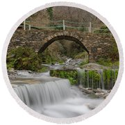 The River And The Village Round Beach Towel