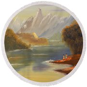 The River Flowing From A High Mountain Round Beach Towel