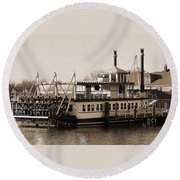 The River Lady Toms River New Jersey Round Beach Towel