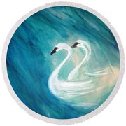 The River Of Swans Round Beach Towel