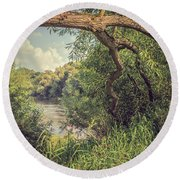 The River Severn At Buildwas Round Beach Towel