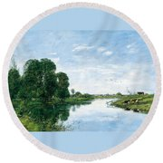 The River Touques At Saint-arnoult Round Beach Towel