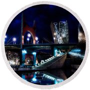 The Riverside Pool Of The Guggenheim Museum In Bilbao Spain Round Beach Towel