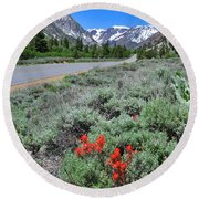 The Road Into Lundy Canyon Round Beach Towel