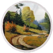 The Road Not Taken Round Beach Towel