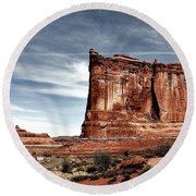 The Road Through Arches Round Beach Towel by Benjamin Yeager