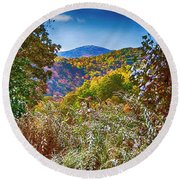 The Road To Cataloochee On A Frosty Fall Morning Round Beach Towel