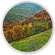 The Road To Glady Wv Round Beach Towel