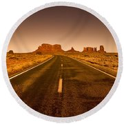 The Road To Monument Valley -utah  Round Beach Towel
