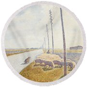 The Road To Nieuport Round Beach Towel