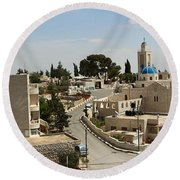 The Road To St. George Ruins Round Beach Towel