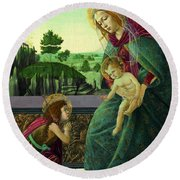 The Rockefeller Madonna. Madonna And Child With Young Saint John The Baptist Round Beach Towel
