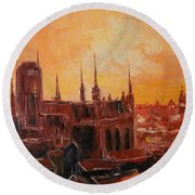 The Roofs Of Gdansk Round Beach Towel