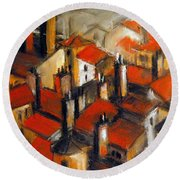The Roofs Of Lyon Round Beach Towel