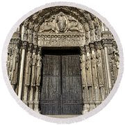 The Royal Portal At Chartres Round Beach Towel