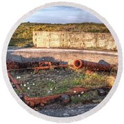 The Ruins Of A Ww2 Cannon And Bunkers Round Beach Towel