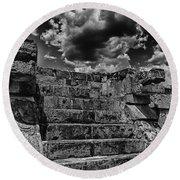The Ruins Of Chichen Itza V2 Round Beach Towel