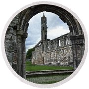 The Ruins Of St Andrews Cathedral Round Beach Towel