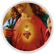 The Sacred Heart Of Jesus Round Beach Towel