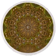 The Sacred Sunset In Golden Light Round Beach Towel