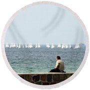 The Sailor With No Boat Round Beach Towel