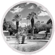 The Sandpiper Pool Bw Palm Desert Round Beach Towel by William Dey