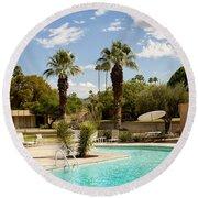 The Sandpiper Pool Palm Desert Round Beach Towel