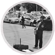 The Saxman In Black And White Round Beach Towel