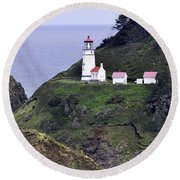 The Scenic Lighthouse Round Beach Towel