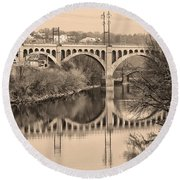 The Schuylkill River And Manayunk Bridge In Sepia Round Beach Towel